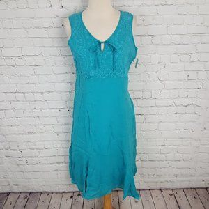 Johnny Was Aqua Blue Dress Eyelet Cotton JWLA 10P